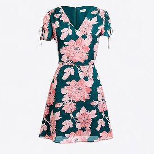 J. Crew Printed Short Sleeve Shoulder Tie Dress